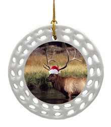 Elk Porcelain Christmas Ornament