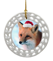 Fox Porcelain Christmas Ornament
