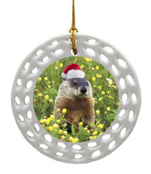 Groundhog Porcelain Christmas Ornament