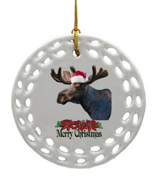 Moose Porcelain Christmas Ornament