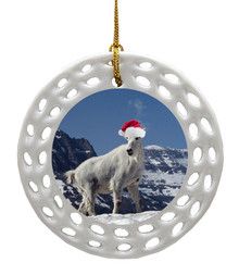 Mountain Goat Porcelain Christmas Ornament