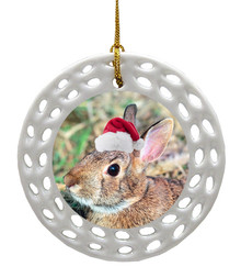 Rabbit Porcelain Christmas Ornament