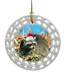 Raccoon Porcelain Christmas Ornament