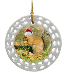 Squirrel Porcelain Christmas Ornament