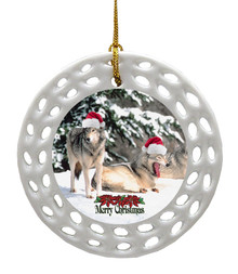 Wolf Porcelain Christmas Ornament
