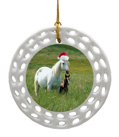Horse Porcelain Christmas Ornament