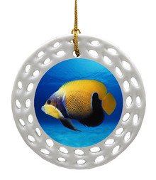 Blue Girdled Angelfish Porcelain Christmas Ornament