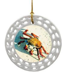 Crab Porcelain Christmas Ornament