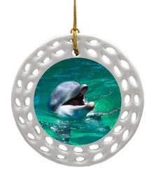 Dolphin Porcelain Christmas Ornament