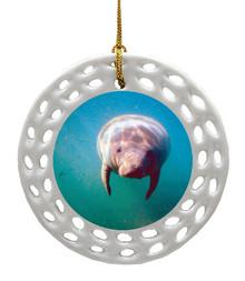 Manatee Porcelain Christmas Ornament