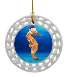 Seahorse Porcelain Christmas Ornament