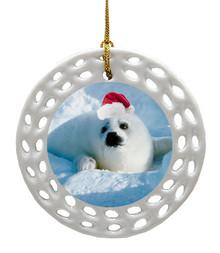 Seal Porcelain Christmas Ornament