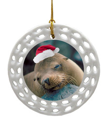 Sea Lion Porcelain Christmas Ornament