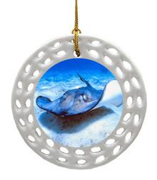 Stingray Porcelain Christmas Ornament
