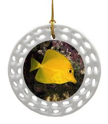 Yellow Tang Porcelain Christmas Ornament