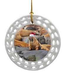 Walrus Porcelain Christmas Ornament
