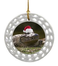 Alligator Porcelain Christmas Ornament