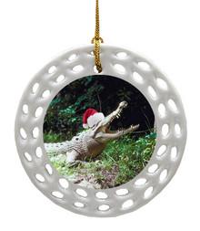 Crocodile Porcelain Christmas Ornament