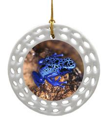 Blue Frog Porcelain Christmas Ornament