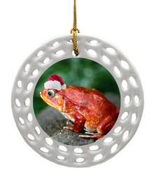 Tomato Frog Porcelain Christmas Ornament