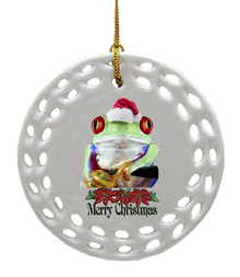 Tree Frog Porcelain Christmas Ornament