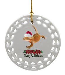 Gecko Porcelain Christmas Ornament