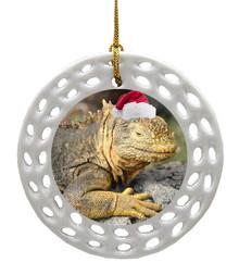 Iguana Porcelain Christmas Ornament