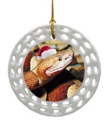 Copperhead Snake Porcelain Christmas Ornament