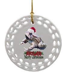 Toad Porcelain Christmas Ornament