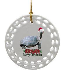 Turtle Porcelain Christmas Ornament
