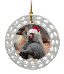 Baboon Porcelain Christmas Ornament