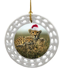 Cheetah Porcelain Christmas Ornament