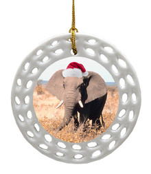 Elephant Porcelain Christmas Ornament