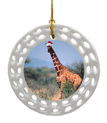 Giraffe Porcelain Christmas Ornament