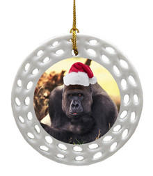 Gorilla Porcelain Christmas Ornament