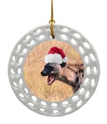 Hyena Porcelain Christmas Ornament