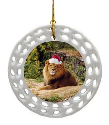 Lion Porcelain Christmas Ornament