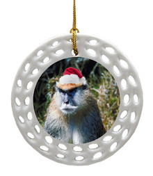 Monkey Porcelain Christmas Ornament