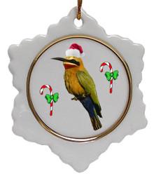 Bee Eater Jolly Santa Snowflake Christmas Ornament