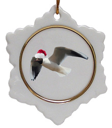 Black Headed Gull Jolly Santa Snowflake Christmas Ornament