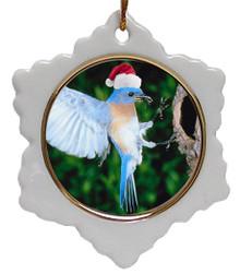 Bluebird Jolly Santa Snowflake Christmas Ornament