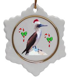 Blue Footed Booby Jolly Santa Snowflake Christmas Ornament