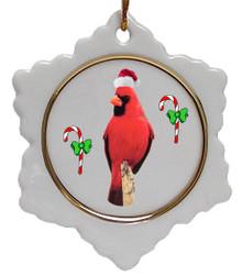 Cardinal Jolly Santa Snowflake Christmas Ornament