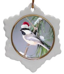 Chickadee Jolly Santa Snowflake Christmas Ornament