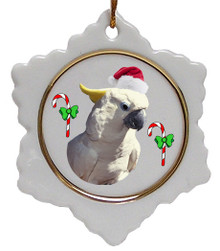 Cockatoo Jolly Santa Snowflake Christmas Ornament
