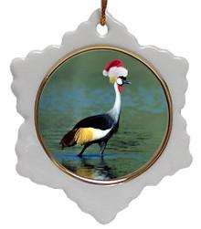 Crowned Crane Jolly Santa Snowflake Christmas Ornament