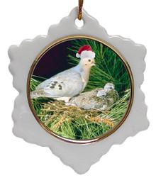 Dove Jolly Santa Snowflake Christmas Ornament