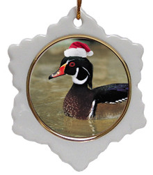 Duck Jolly Santa Snowflake Christmas Ornament