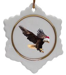 Eagle Jolly Santa Snowflake Christmas Ornament