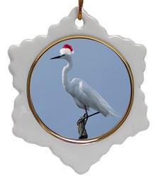 Egret Jolly Santa Snowflake Christmas Ornament